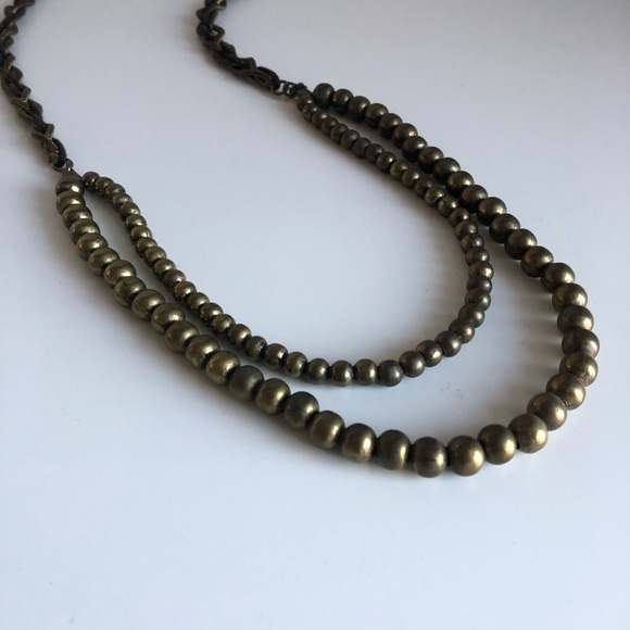 Bronze Beaded Braided Statement Necklace